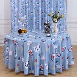 round chair covers UK - Doraemon table hotel banquet chair cover fabric decorative Tablecloth decorative cloth dyed polyester fabric