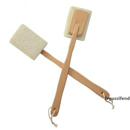 natural scrubber loofah wholesale Canada - Natural Loofah Brush Exfoliating Dead Skin Body Scrubber Loofah Brush with Long Detachable Wooden Handle Back Brush LX1184