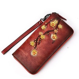 floral womens wallets 2020 - ABER 2020 New Retro Floral Embossed Zipper Genuine Leather Long Womens Wallets And Purses Ladies Clutch Bags Hand Wallet