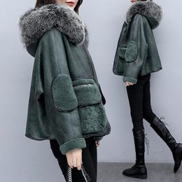 Wholesale leather fur trim coats for sale - Group buy Casual Winter Women Loose Hooded Teddy Coat Fake Fur Patchwork Female Faux PU Leather Jacket Streetwear with Fur Trim Hood T144