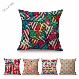 "art throw pillow NZ - 18"" Colorful Geometric Stars Circle Waves Art Vintage Graffiti Home Decorative Sofa Throw Pillow Case Cotton Linen Cushion Cover FRH8#"