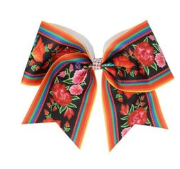 cheerleader accessories Australia - HOT sale7'' Print Cheer Bows flowers and plants Cheerleader Girls Bows With Elastic Band For Teens Hair Band Accessories