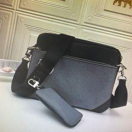 M69443 TRIO Messenger Bag Eclipse-Reverse-Canvas Herren Umhängetaschen 3-teiliges Set Mode Leder Mann Umhängetasche mit Beutel Griff im Angebot