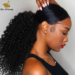Wholesale Kinky Curly Ponytail Hair Extensions Brazilian Virgin Human Hair Drawstring Ponytails for Black Women Natural Color 10-30inch