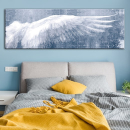 large canvas prints black white NZ - Large Size Black White Vintage Angel Wings Oil Painting Nordic Abstract Wall Art Canvas Posters Prints Wall Pictures Living Room Home Decor
