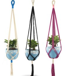 cotton plant flower NZ - Handmade Colorful Macrame Plant Hangers Indoor Outdoor Flower Hanging Basket Cotton Rope 4 Legs Balcony Pot Hanger Room Decor BWF517