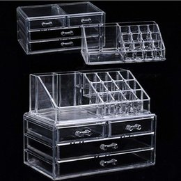 cotton acrylic Canada - Acrylic transparent Makeup Organizer Storage Boxes Make Cosmetics Brush Organizer home Drawers Cotton Swabs Stick Storage case wWdN#