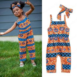 jumpsuit bohemia Canada - kids clothes girls African Bohemia style print Rompers children Sleeveless sling Jumpsuits with headbands summer fashion baby Clothing