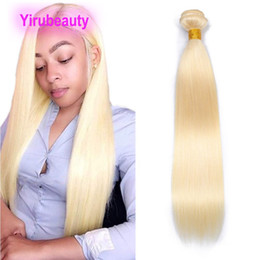 Brazilian Indian Human Hair 613# Blonde One Bundle 1 Pieces lot Straight Human Hair Extensions Double Wefts Weaves Straight Bundle 10-40inch on Sale