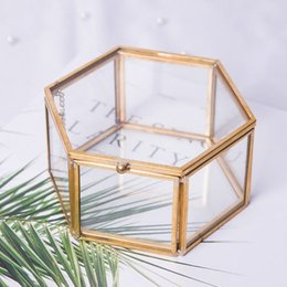 plant boxes NZ - Geometrical Clear Glass Jewelry Box Jewelry Organize Holder Tabletop Succulent Plants Container Home Jewelry Storage CX200716