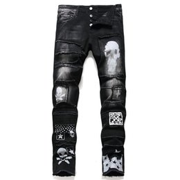 new fashion boy s jeans 2020 - Free shipping new fashion male men's Black hole jeans slim feet Korean trend punk beggar pants boys young stretc tr