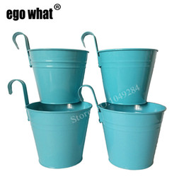 flower pot sizes Canada - Free Shipping BLUE color Big Size 14.5*10*12.5cm pure garden bucket flower pots planters metal Wall hook Hanging balcony bonsai