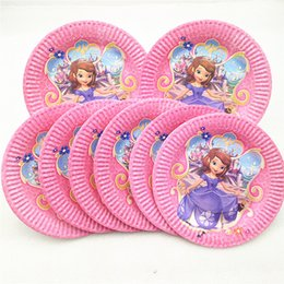 princess birthday party plates Canada - 10pcs Princess Party Supplies Paper Plates Disposable Tableware Birthday Festival Party Favor Decoration Cake Plate dishes