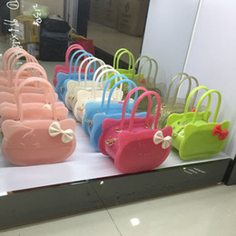 silicon colors bag NZ - New Kid Girls Bow-Knot PVC Candy Colors Jelly Purse handbag Children Shoulder Bag Silicon Tote Beach messenger Bag
