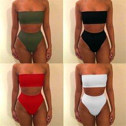 Wholesale plus size swimsuit for sale – plus size Sexy Women High Waist Swimsuit Bikini Bandeau Thong Plus Size Swim Wear Women Biquinis Swimming Suit Bathing Biquini