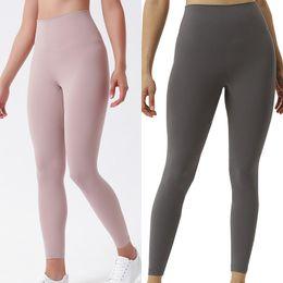 Toptan satış Yüksek Bel Katı Renk Kadın Sweatpants Yoga Pantolon Spor Giyim Tozluklar Elastik Spor Lady Genel Tam Tayt Egzersiz