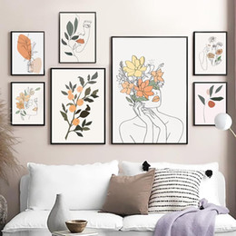orange abstract canvas art NZ - Abstract Flower Woman Face Line Orange Wall Art Canvas Painting Nordic Posters Prints Wall Pictures For Living Room Home Decor