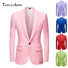 blue blazers Australia - Men's Apple Green yellow Pink Blue Red Colorful Fashion Suit Jacket Wedding Groom Stage Singer Prom Slim Fit Blazers CX200725