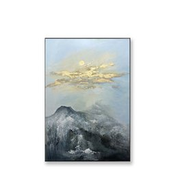 framed wall art sale NZ - Original Gold Foil Hand Painted Abstarct Oil Painting Montains and Gold Cloud Wall Art Picture for Living Room Hall Way Hot Sale