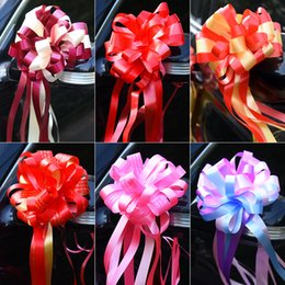 pull bows wholesale NZ - Lazy Person Two Color Pull Bow Wedding Car Coloured Ribbon Flower Ball New Products Sell Well With Various Pattern 4 8lj J1