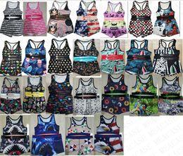 Wholesale sharks tanks online – design High quality women swimsuit animal shark print swimwear push up tank top bra shorts piece bikini set girls swimming suit D7801