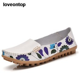 floral print shoes women Australia - Loveontop Spring Autumn Women Flats Leather Loafers Soft Slip-on Printing Floral Round Toe Casual Shoes Lady
