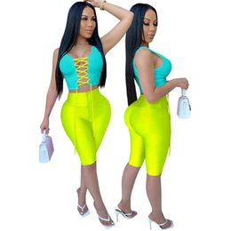 zipper high waist Australia - Womens Hollow Out Bandage Tracksuits Woman Summer 2pcs Sexy Sleeveless With High Waist Slim Skinny Sets Woman High Fashion Suits