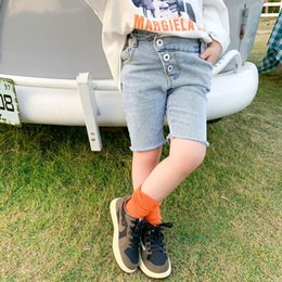 jeans pants style NZ - KuuIk 2020 spring and Ankle-length crawler Jeans children's pants summer Korean style children's wear boys and girls jeans shorts irregular