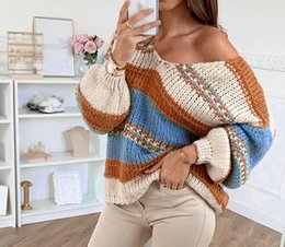 Wholesale sexy animal print sweater for sale – custom 2019 autumn and winter casual loose solid color printed sexy V neck Top sweater sweater top