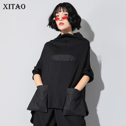 Wholesale stand collar black shirts for sale - Group buy XITAO Harajuku Patchwork Pocket T Shirt Women Stand Collar Plus Size Casual Black Streetwear Female Stitch Korean Summer LYH2877 CX200713