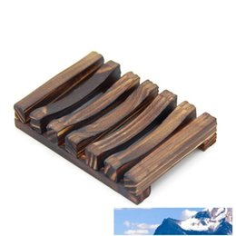 natural bamboo soap UK - Natural Bamboo Wooden Soap Dish Plate Tray Holder Box Case Shower Hand Washing Soap Holder Free DHL