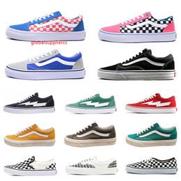 Medo de homens deus mulheres tela de Van sneakers van velha skool sk8 skate deslizamento-em sapatas triplos homens brancas plana preto sapatos casuais 36-44 em Promoção