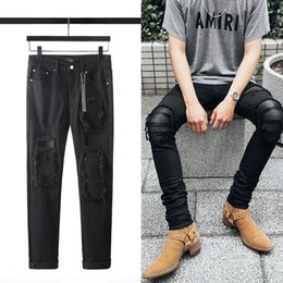 motorcycle men tights UK - 2020 new luxury fashion Mens Designer Jeans Mens Ripped Denim Tearing hole Cotton fashion Tight spring autumn motorcycle luxury pants