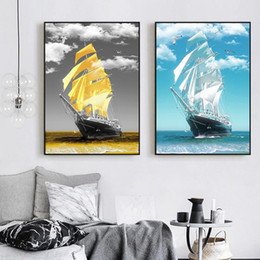 paintings sailboats 2021 - Modern Minimalist Golden Sailboat Canvas Painting Poster And Prints Wall Art Pictures for Living Room Home Decor (No Fra