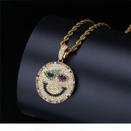 gold rope chain necklace for men NZ - 18K Gold Micro-Inlaid Colored Zircon Smile Face Round Pendant Necklace with Free Rope Chain for Men Women
