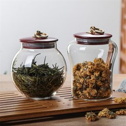 sealed jars Canada - Glass Sealed Jar Wooden Lid Sealed Can Storage Tank Grains Storage Jar Coffee Bean Containers Kitchen
