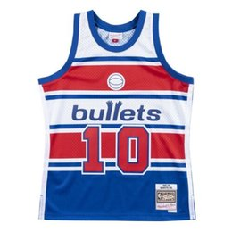 Cheap Bullets Manute Bol #10 Mitchell & Ness 1985-86 Jersey Throwbacks Vest Stitched basketball jerseys