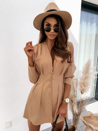Wholesale long button blouse online – Sexy New Womens Blouses Shirts V neck Button Autumn Long Sleeves Princess Ladies Party Clothes Size S XL