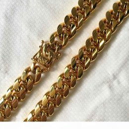 boys curb chains NZ - 10mm 12mm 14mm Stainless Steel Curb Cuban Chain Necklace Boys Mens Fashion Chain Dragon Clasp Gold RoseGold jewelry