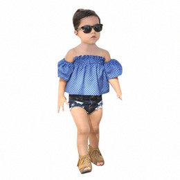 toddler girl jeans shorts UK - Toddler Baby Girl Kid Off Shoulder Dot Printed Tops+ Jeans Shorts Outfits Set 2020 Children's Spring Clothes Traje #H GoqM#