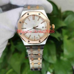 Mode-Armbanduhren N8 Fabrik Royal Oak 15450SR.OO.1256SR.01 15450 37mm Zwei Töne Mechanische Transparent Automatische Damen Damenuhren im Angebot