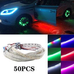 angels lamps UK - 50pcs Car Strip 30cm 60cm 18 modes Flexible colorful Decorative flowing Lamp motor DRL RGB Angel Eyes Daytime Running light 12V