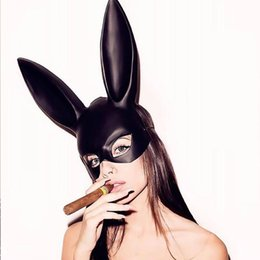 white masquerade masks UK - Wholesale Bunny Plastic Mask, Christmas Mask, Bar KTV Nightclub Halloween Masquerade Bunny Ear Mask,Black,White,
