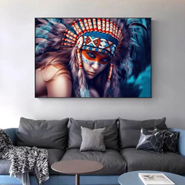 indian abstract art paintings 2021 - Indian Body Art Canvas Painting Girl With Feather Colorful Pop Art Wall Art Pictures for Living Room Home Decor (No Fram
