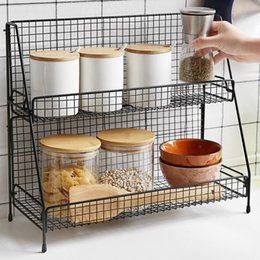 double shelf organizer NZ - Iron for Kitchen rack organizer Double Layer Assembly Cosmetic bathroom Shelf Storage basket Y200429