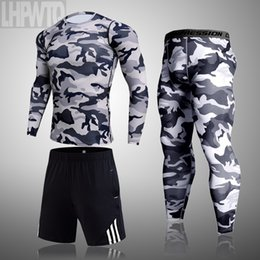 body fitness suit Canada - New 3-piece set Men's Training Compression Sport Suit Male Rashguard t-shirt Body Building Top Fitness Sport Running Set