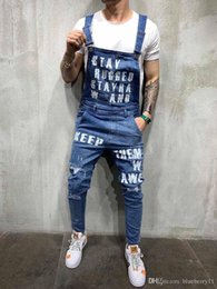 jumpsuit styles for plus size UK - Men Ripped Denim Jeans Overalls Letter Printed Jeans Jumpsuit For Male Streetwear Pants Plus Size S-XXL