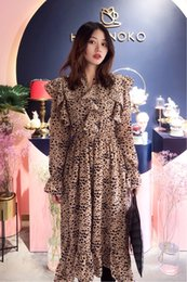 ruffled bottom dresses NZ - 2020 spring and summer new retro long-sleeved leopard-print mid-length dress with ruffles was thin and versatile bottoming skirt