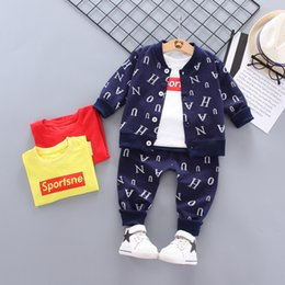 girls sportswear UK - Kids Boy Clothes Sportswear Baby Suit Letter coat Top Pants 3pcs Sport Set Children Outwear girl Baby Gifts for Newborn Boys