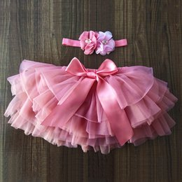 flower girls skirt blouse Canada - Top Sale Baby Girl Tulle Tutu Skirt and Flower Headband Set Newborn Photography Props Baby Birthday Gift 10 Colors ZT001